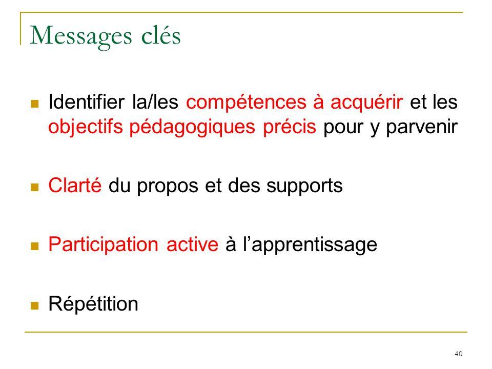 Messages clés Identifier la/les compétences à acquérir et les objectifs pédagogiques précis pour y parvenir.