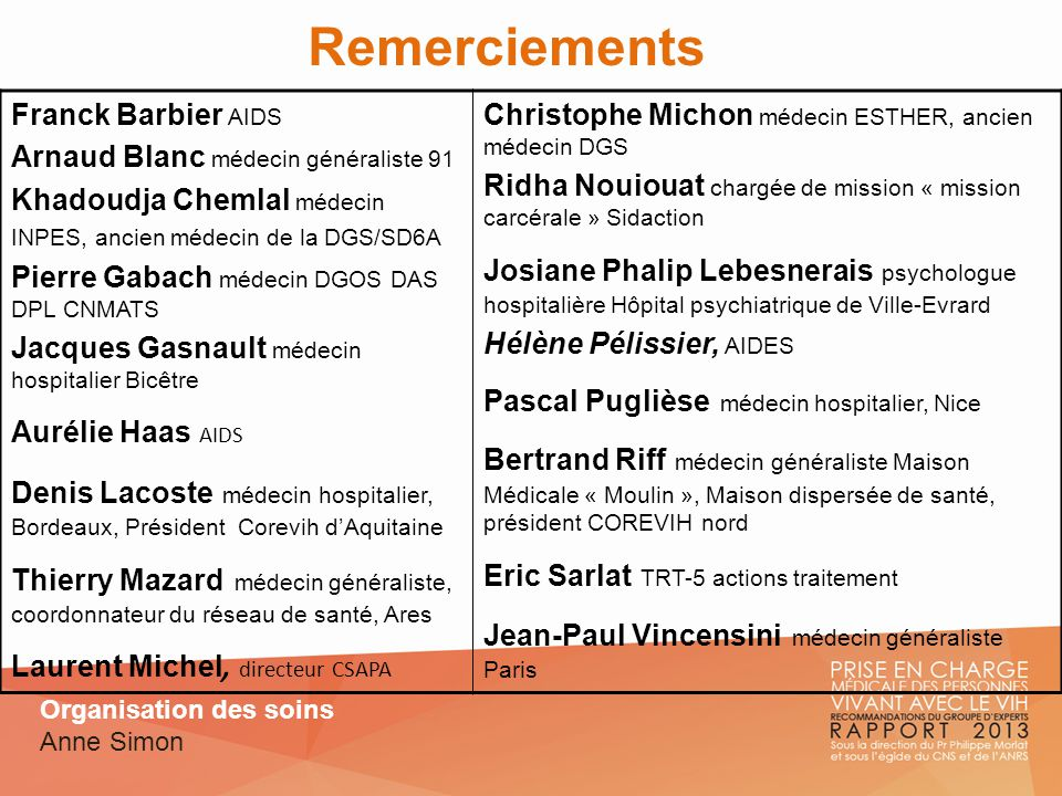 Remerciements Franck Barbier AIDS Arnaud Blanc médecin généraliste 91