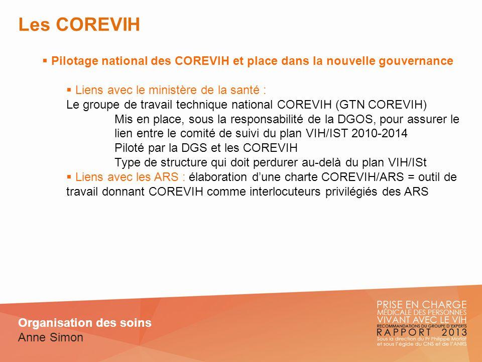 Les COREVIH Pilotage national des COREVIH et place dans la nouvelle gouvernance. Liens avec le ministère de la santé :