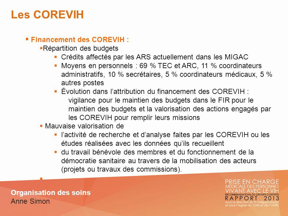 Les COREVIH Financement des COREVIH : Répartition des budgets