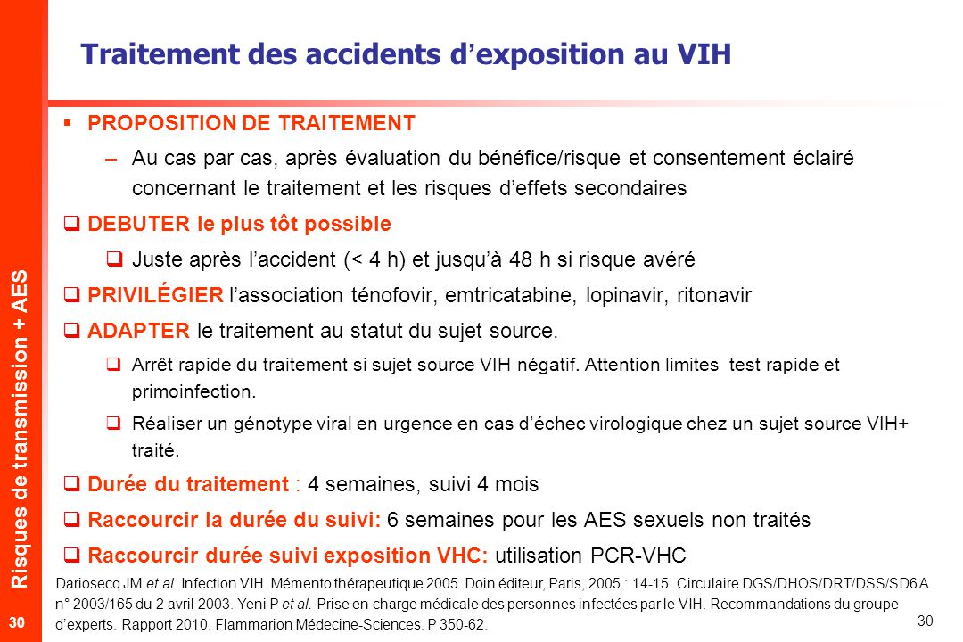 Traitement des accidents d'exposition au VIH