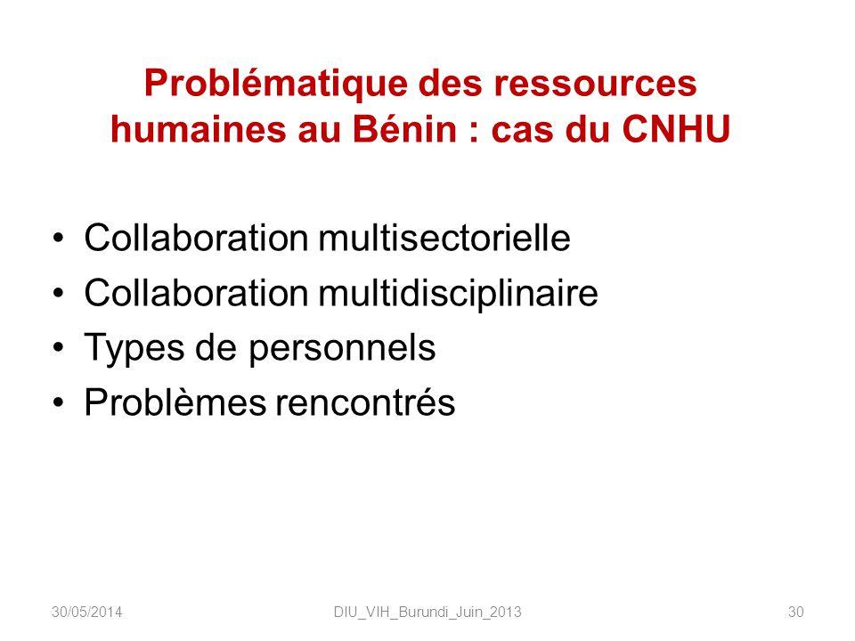 Problématique des ressources humaines au Bénin : cas du CNHU