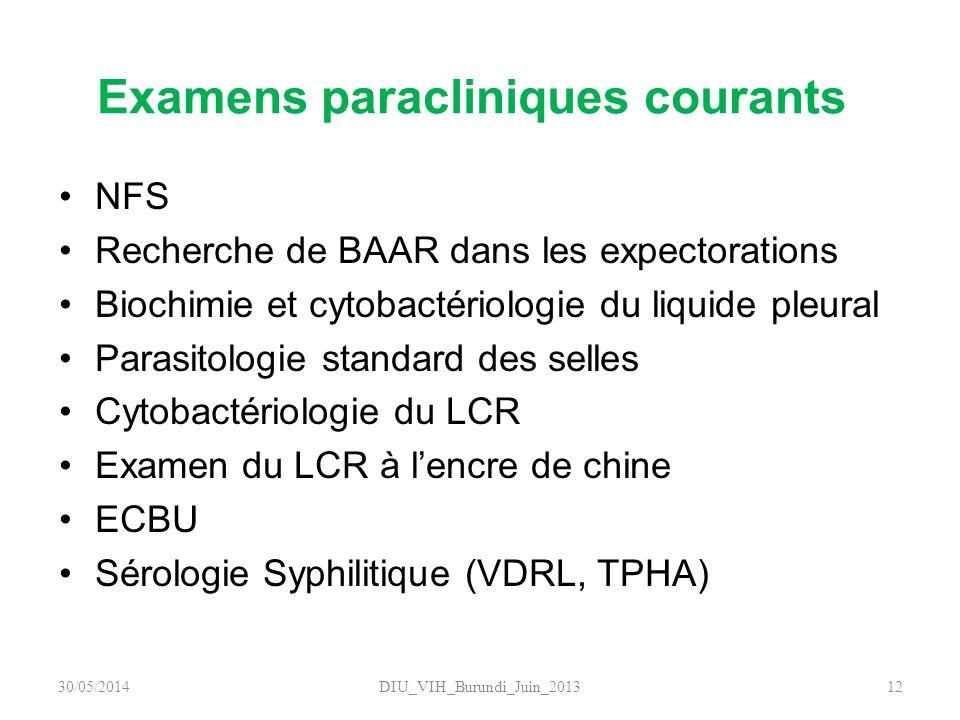 Examens paracliniques courants