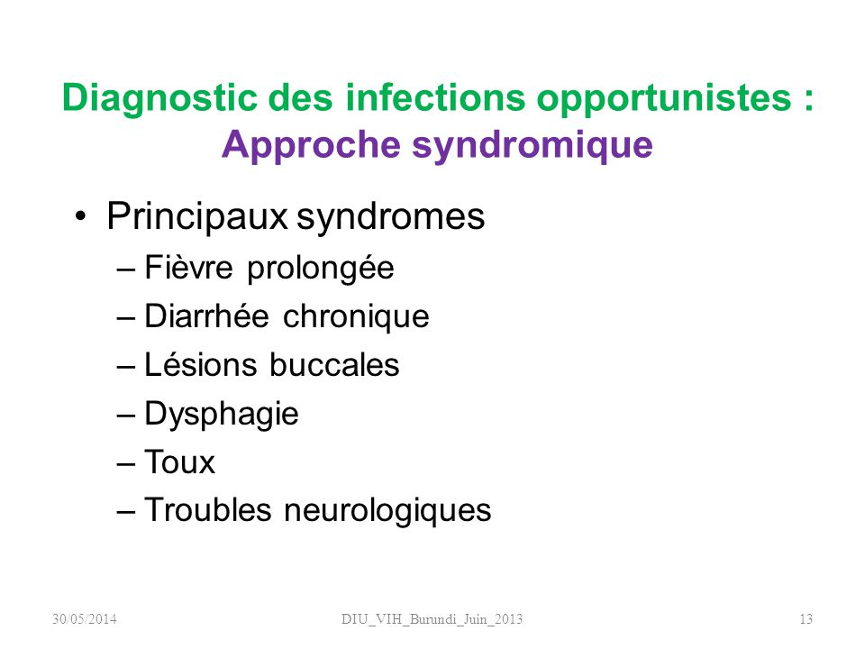 Diagnostic des infections opportunistes : Approche syndromique