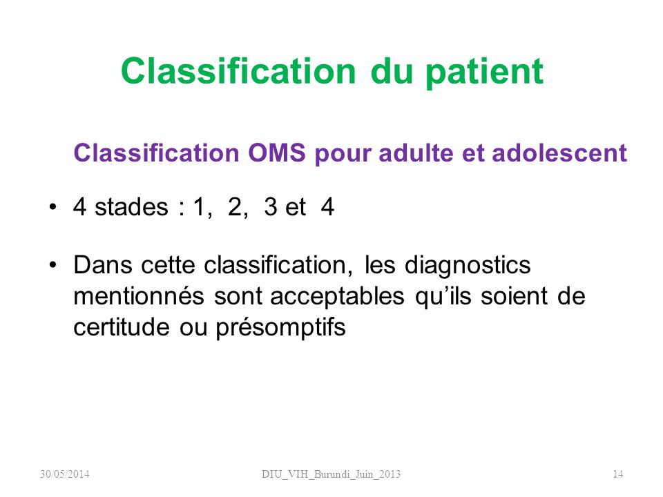 Classification du patient