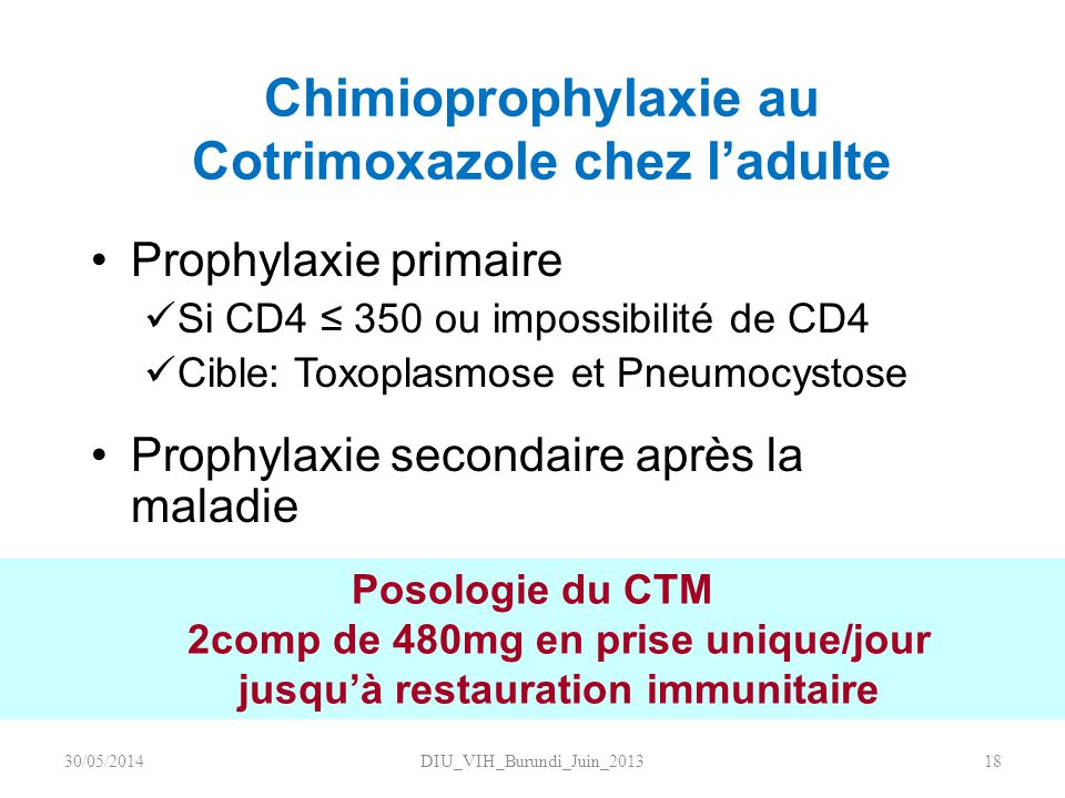 Chimioprophylaxie au Cotrimoxazole chez l'adulte