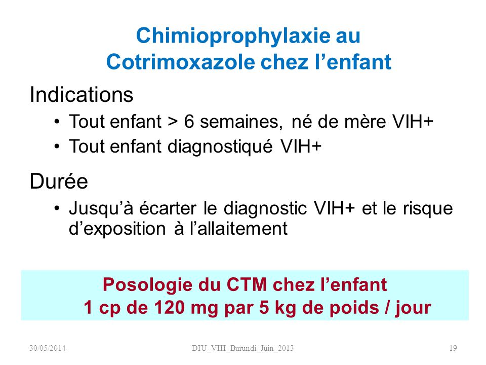 Chimioprophylaxie au Cotrimoxazole chez l'enfant