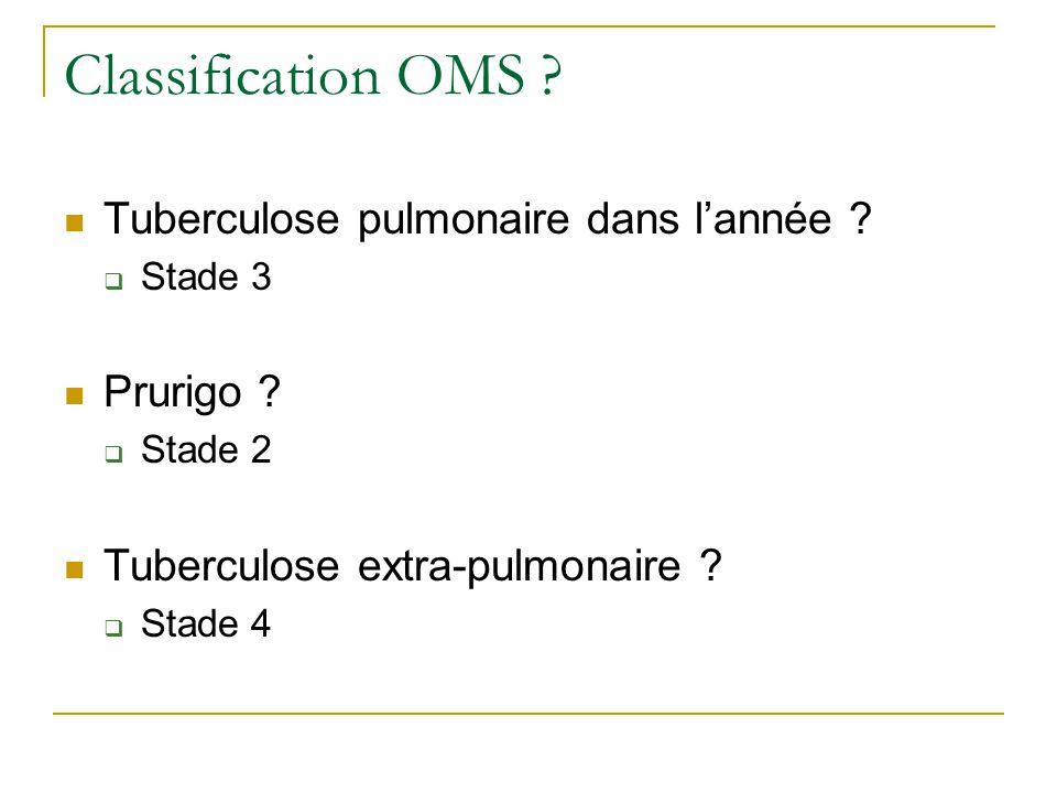 Classification OMS Tuberculose pulmonaire dans l'année Prurigo