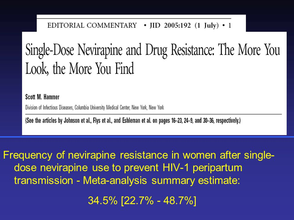 Frequency of nevirapine resistance in women after single-dose nevirapine use to prevent HIV-1 peripartum transmission - Meta-analysis summary estimate: