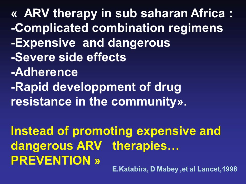 « ARV therapy in sub saharan Africa :