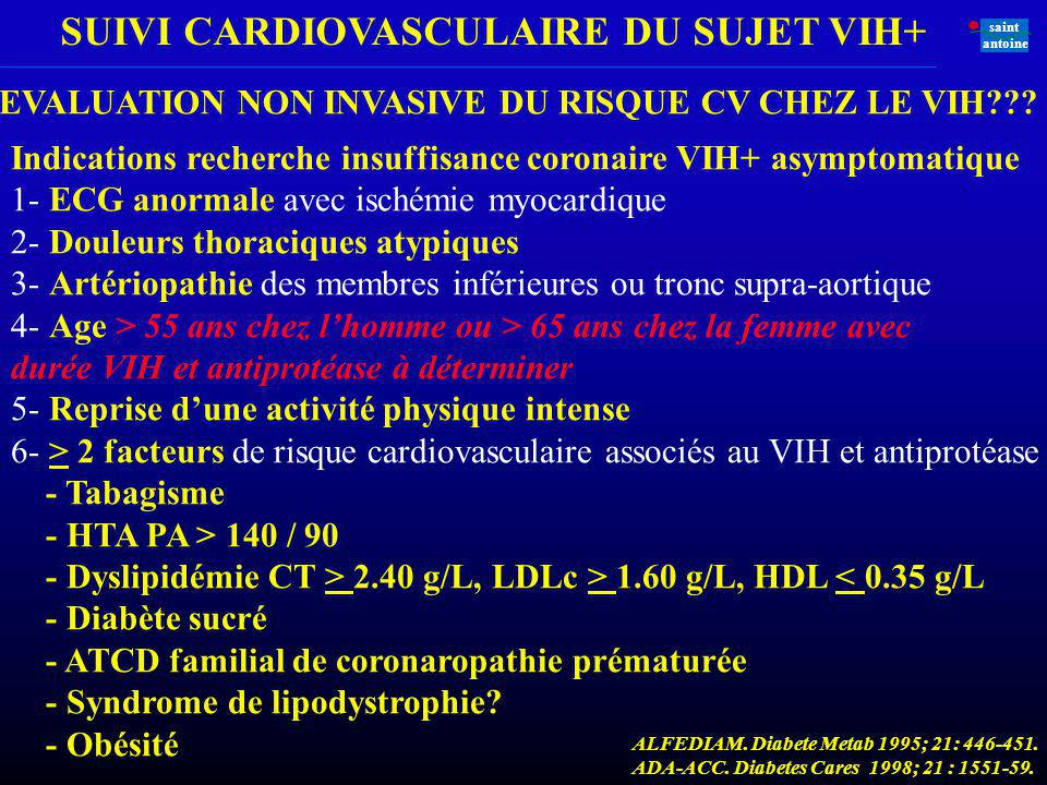 EVALUATION NON INVASIVE DU RISQUE CV CHEZ LE VIH