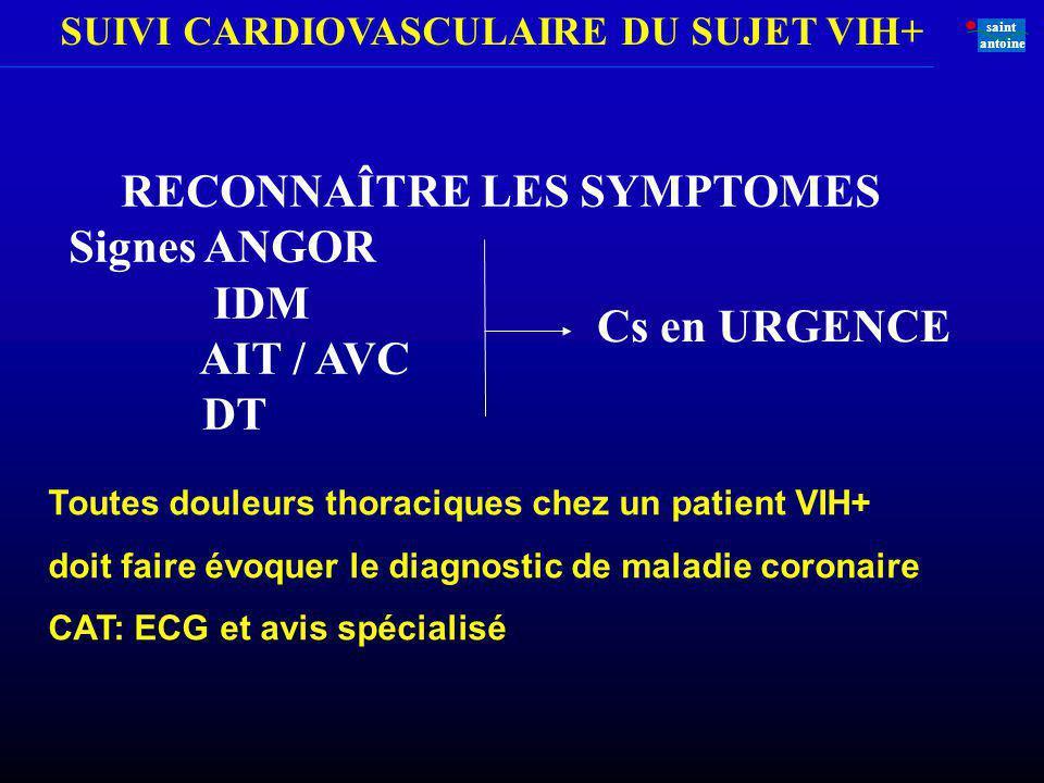 RECONNAÎTRE LES SYMPTOMES IDM AIT / AVC DT Cs en URGENCE