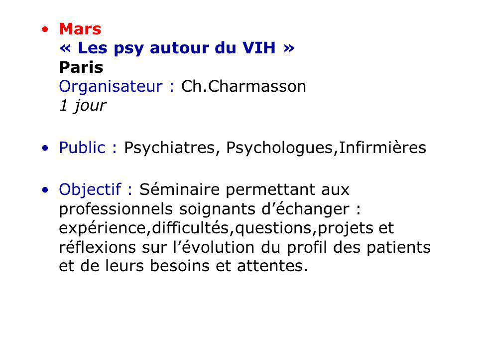 Mars « Les psy autour du VIH » Paris Organisateur : Ch