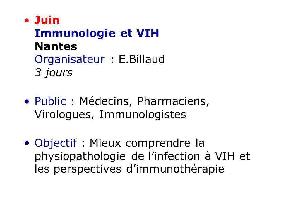 Juin Immunologie et VIH Nantes Organisateur : E.Billaud 3 jours