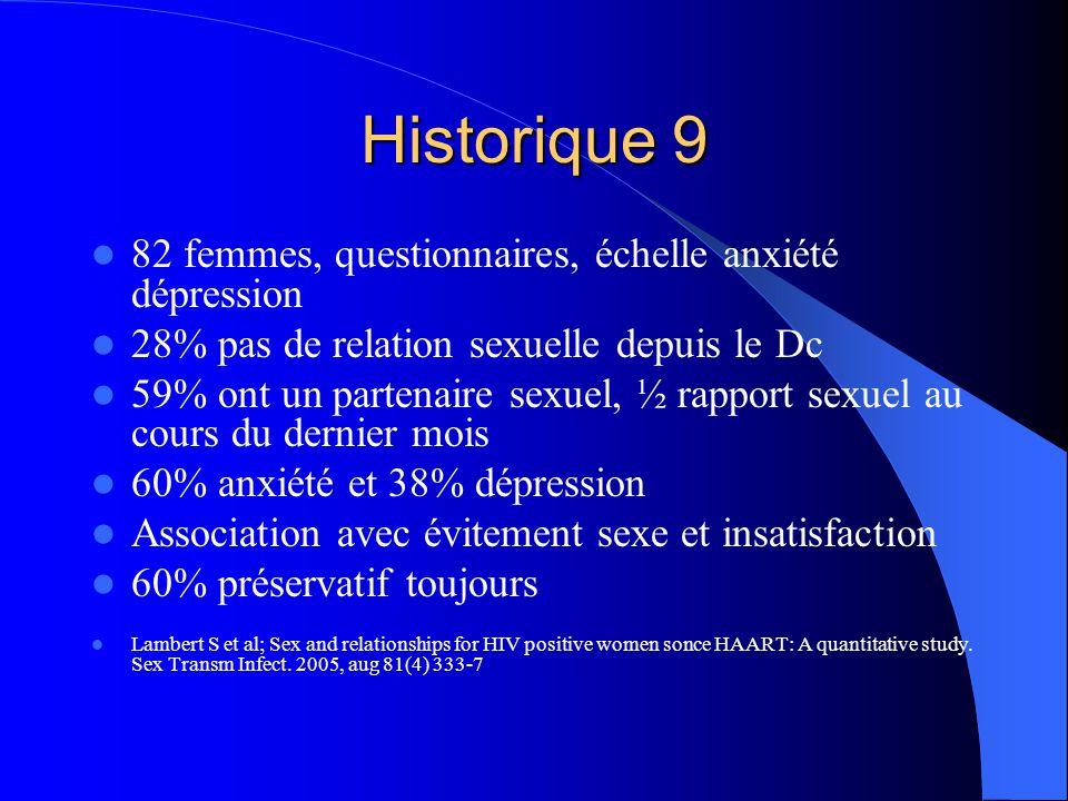 Historique 9 82 femmes, questionnaires, échelle anxiété dépression
