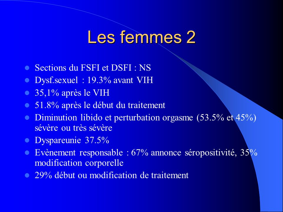 Les femmes 2 Sections du FSFI et DSFI : NS