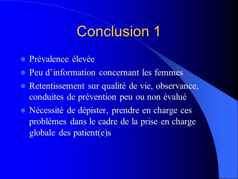 Conclusion 1 Prévalence élevée Peu d'information concernant les femmes