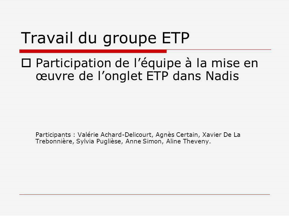 Travail du groupe ETP Participation de l'équipe à la mise en œuvre de l'onglet ETP dans Nadis.
