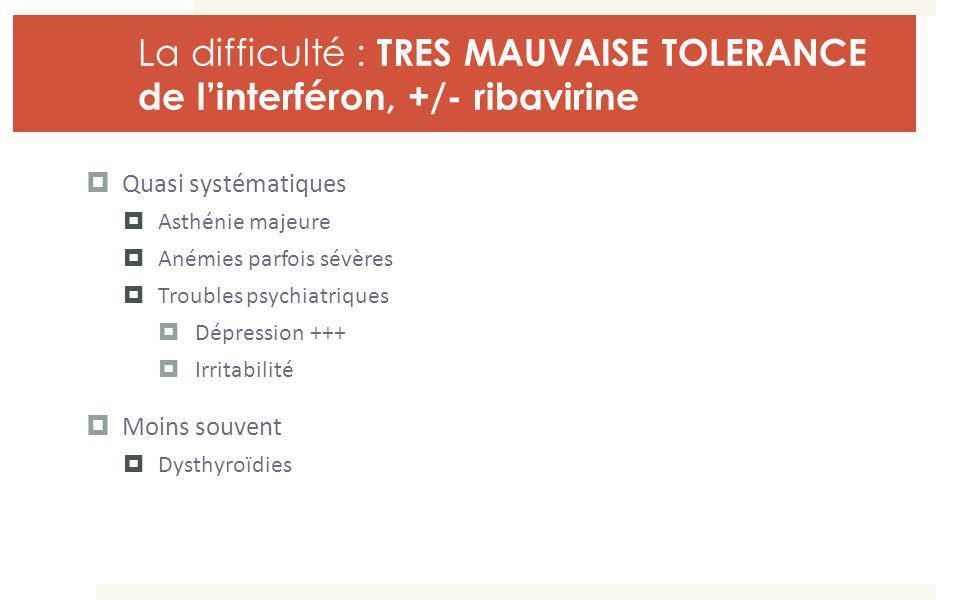 La difficulté : TRES MAUVAISE TOLERANCE de l'interféron, +/- ribavirine