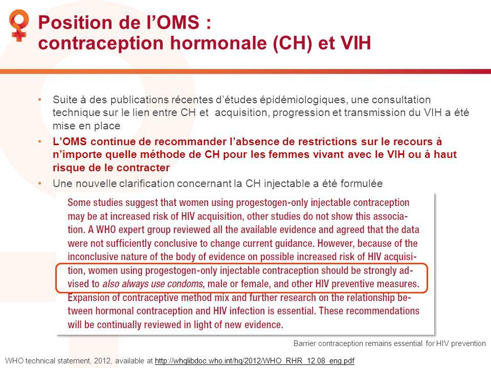 Position de l'OMS : contraception hormonale (CH) et VIH