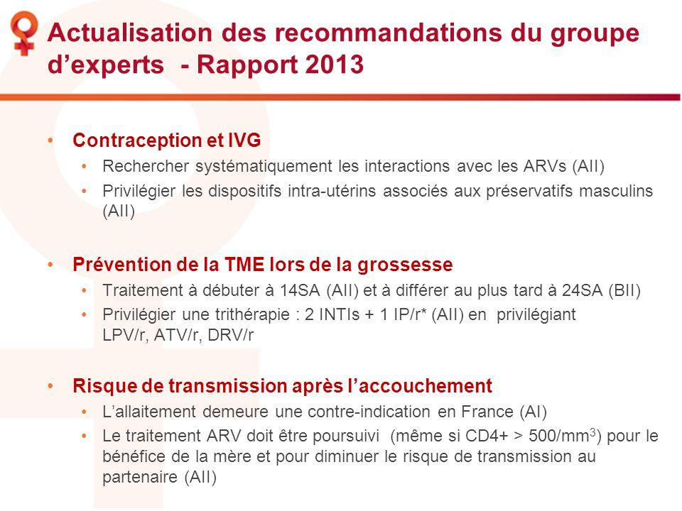 Actualisation des recommandations du groupe d'experts - Rapport 2013
