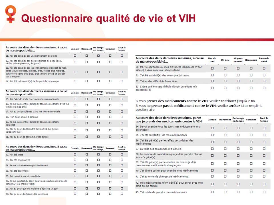 Questionnaire qualité de vie et VIH