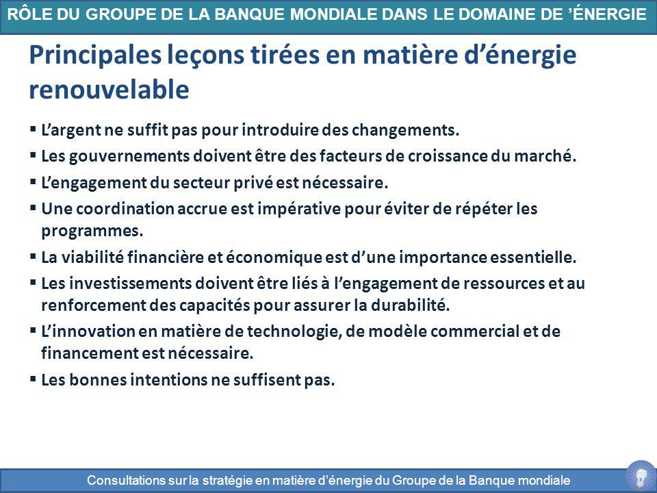 Principales leçons tirées en matière d'énergie renouvelable