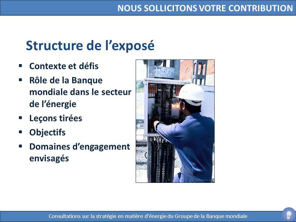 Structure de l'exposé NOUS SOLLICITONS VOTRE CONTRIBUTION