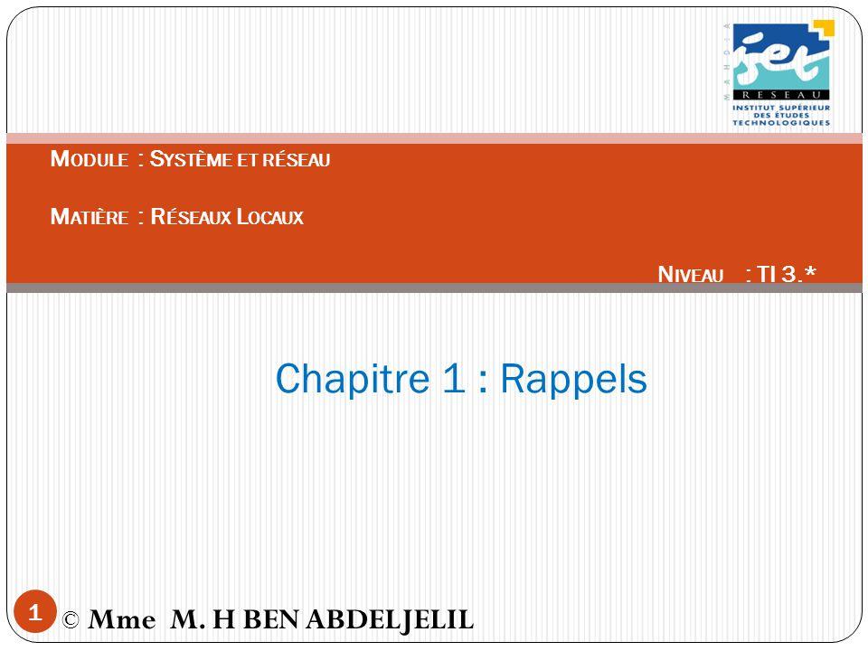 Chapitre 1 : Rappels Module : Système et réseau