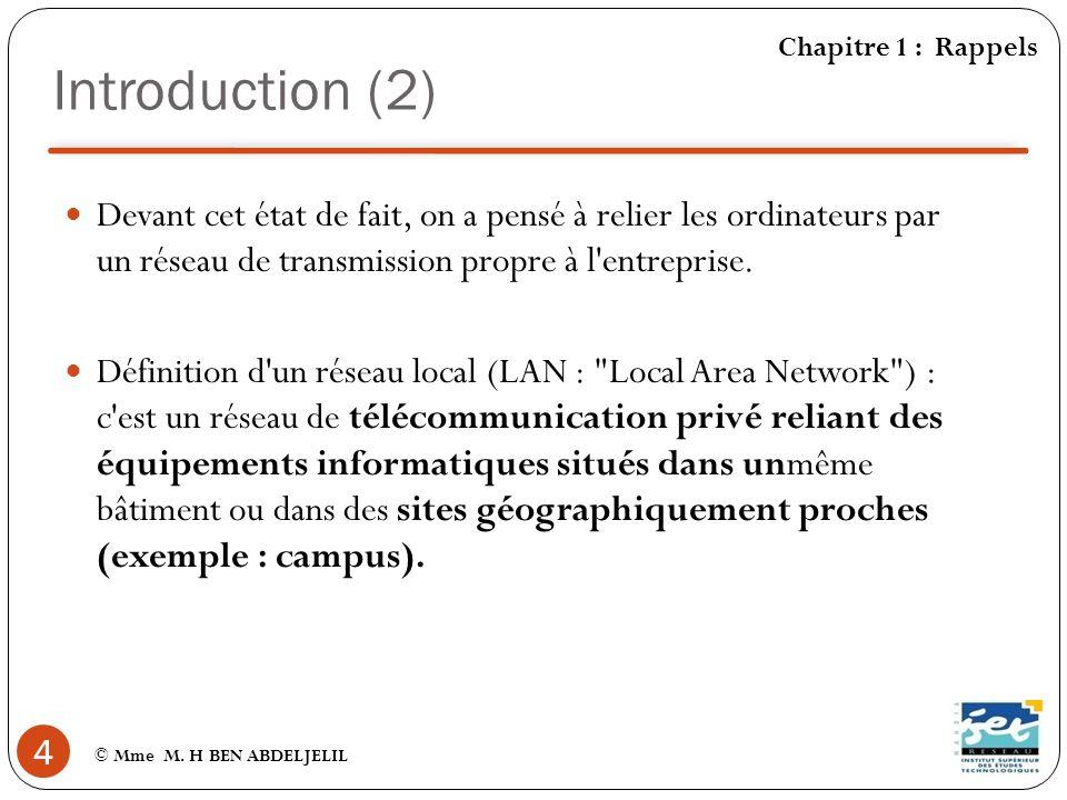 Introduction (2) Chapitre 1 : Rappels.