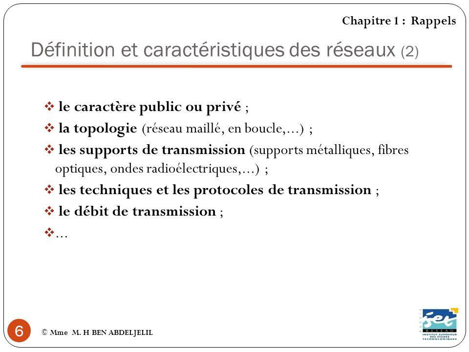 Définition et caractéristiques des réseaux (2)