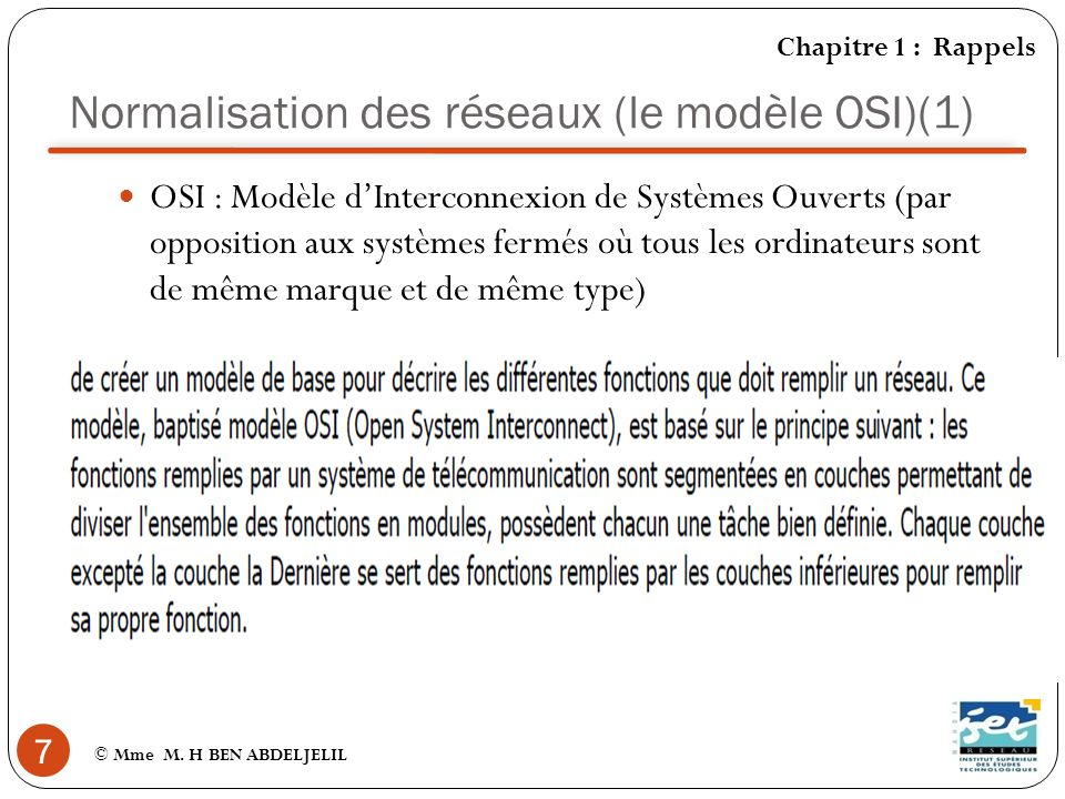 Normalisation des réseaux (le modèle OSI)(1)