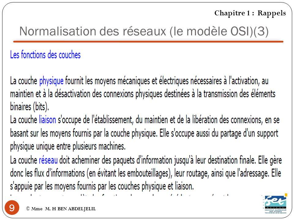 Normalisation des réseaux (le modèle OSI)(3)