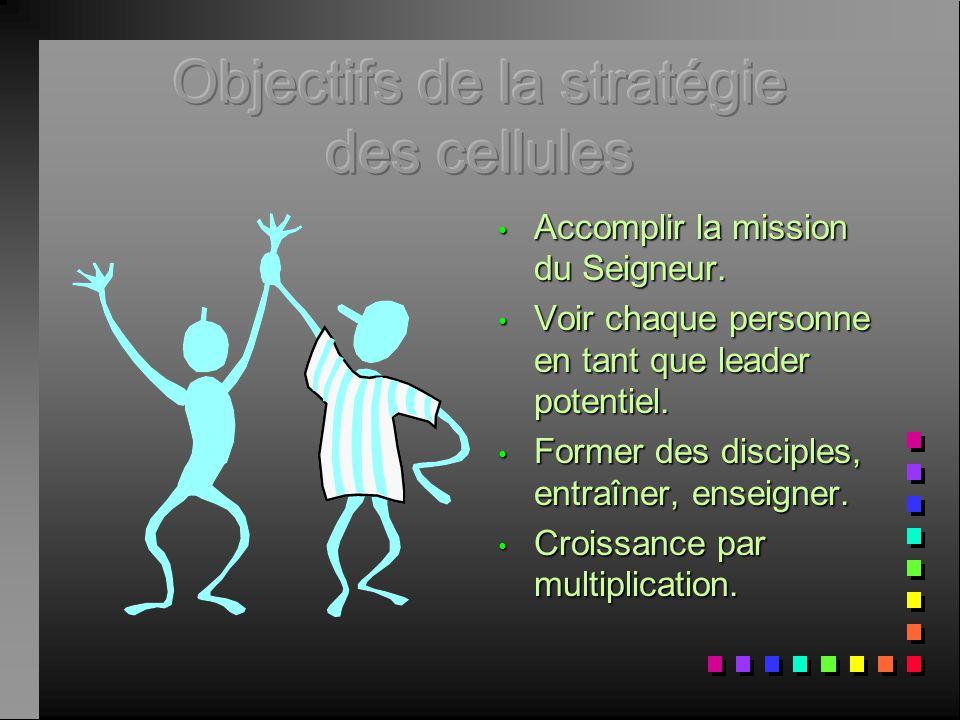 Objectifs de la stratégie des cellules