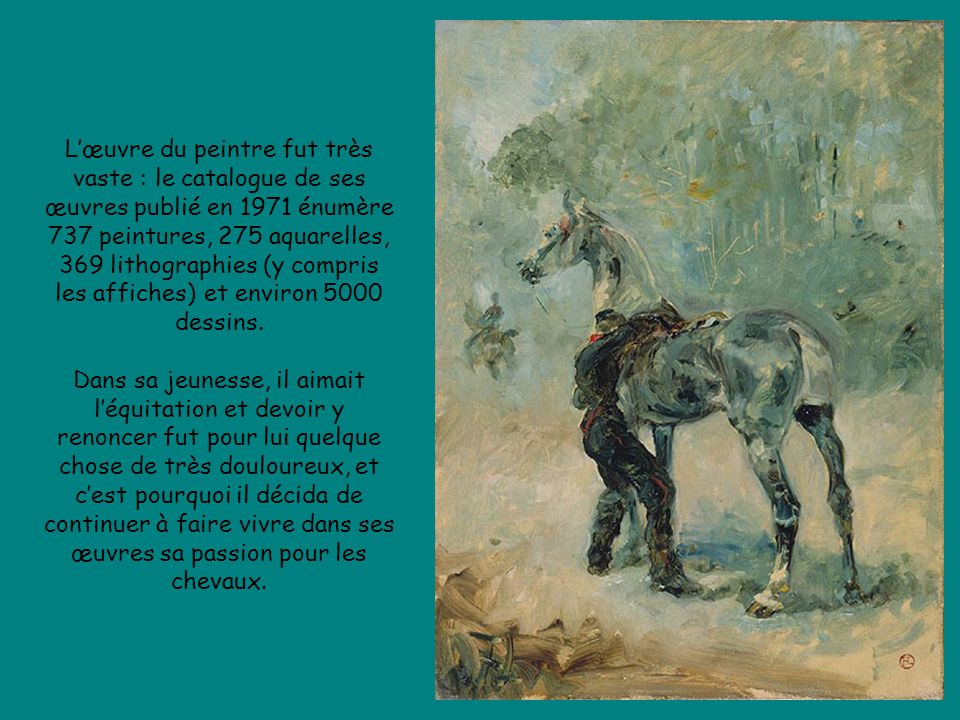 L'œuvre du peintre fut très vaste : le catalogue de ses œuvres publié en 1971 énumère 737 peintures, 275 aquarelles, 369 lithographies (y compris les affiches) et environ 5000 dessins.