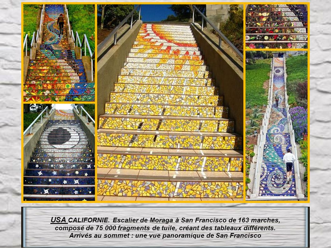 USA CALIFORNIE. Escalier de Moraga à San Francisco de 163 marches,
