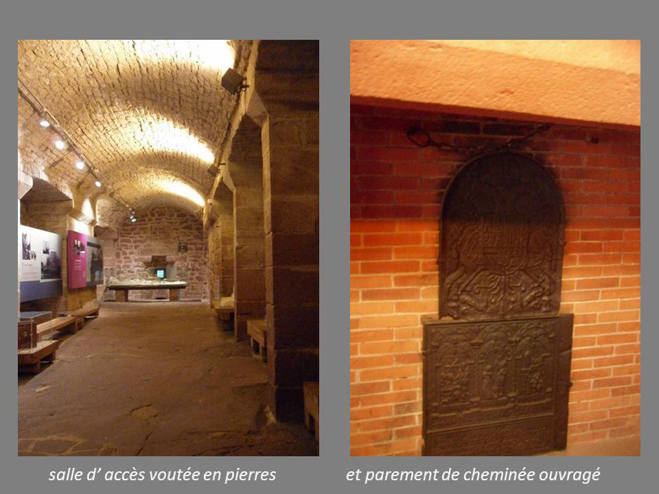 salle d' accès voutée en pierres et parement de cheminée ouvragé