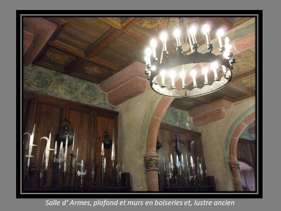 Salle d' Armes, plafond et murs en boiseries et, lustre ancien