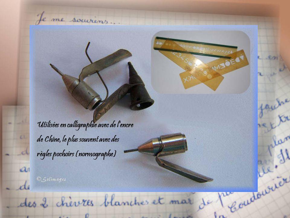 Utilisées en calligraphie avec de l'encre de Chine, le plus souvent avec des règles pochoirs (normographe)