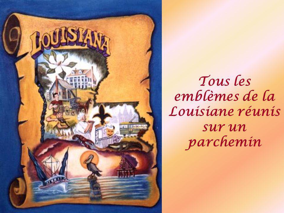Tous les emblèmes de la Louisiane réunis sur un parchemin