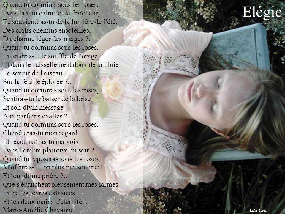 Quand tu dormiras sous les roses, Dans la nuit calme et la fraîcheur, Te souviendras-tu de la lumière de l été, Des clairs chemins ensoleillés, Du charme léger des nuages ... Quand tu dormiras sous les roses, Entendras-tu le souffle de l orage Et dans le ruissellement doux de la pluie Le soupir de l oiseau Sur la feuille éplorée ... Quand tu dormiras sous les roses, Sentiras-tu le baiser de la brise Et son divin message Aux parfums exaltés ... Quand tu dormiras sous les roses, Chercheras-tu mon regard Et reconnaîtras-tu ma voix Dans l ombre plaintive du soir ... Quand tu reposeras sous les roses, M offriras-tu ton plus pur sommeil Et ton ultime prière ... Que s épanchent pieusement mes larmes Entre tes lèvres extasiées Et tes deux mains d éternité... Marie-Amélie Chavanne