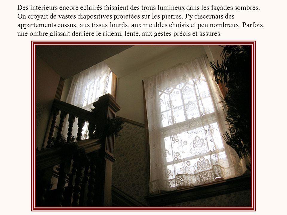 Des intérieurs encore éclairés faisaient des trous lumineux dans les façades sombres.
