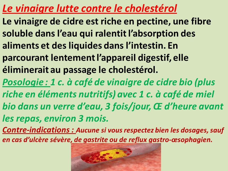 Le vinaigre lutte contre le cholestérol