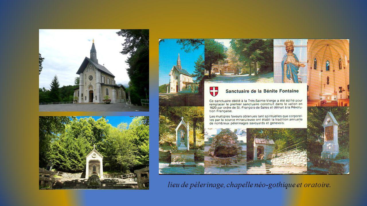 lieu de pèlerinage, chapelle néo-gothique et oratoire.