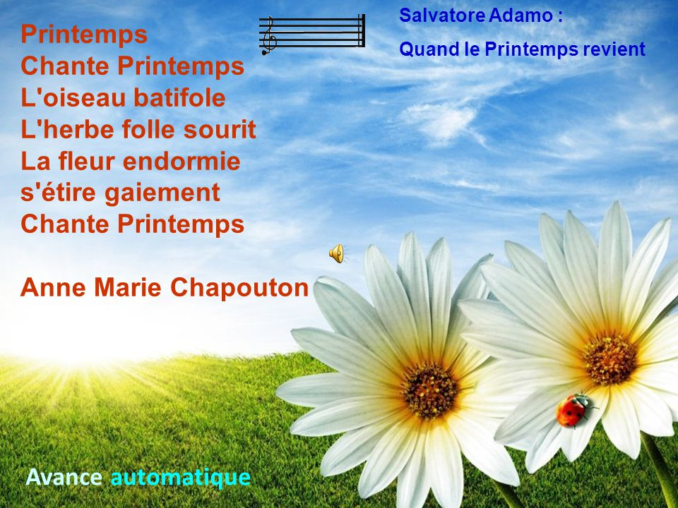 Salvatore Adamo : Quand le Printemps revient. Printemps.