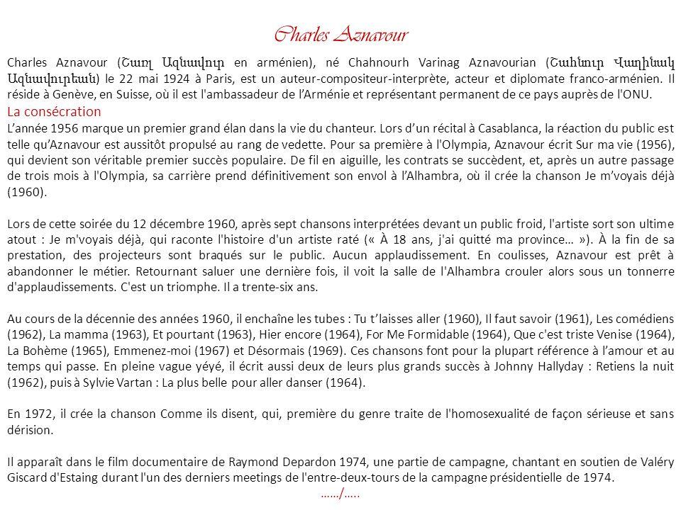 Charles Aznavour La consécration