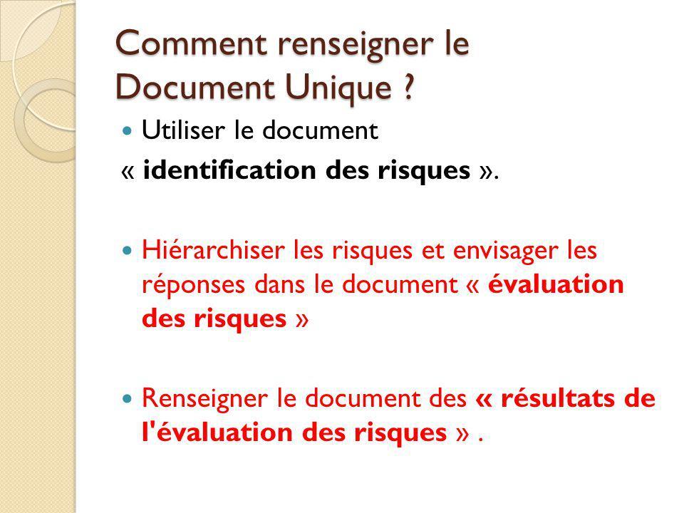 Comment renseigner le Document Unique