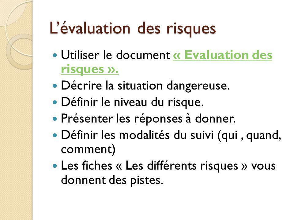 L'évaluation des risques