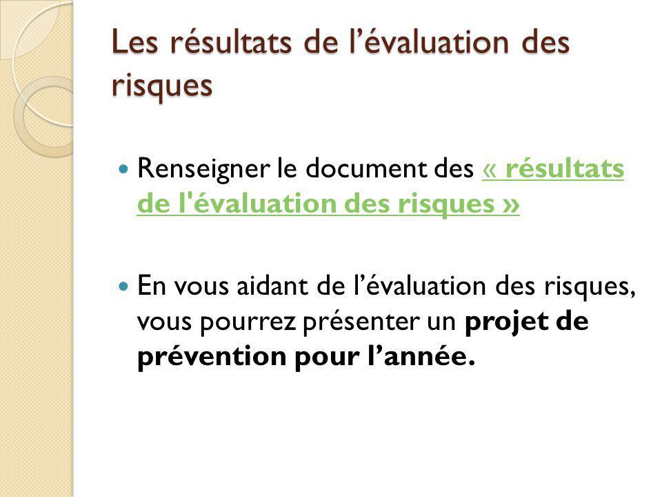 Les résultats de l'évaluation des risques