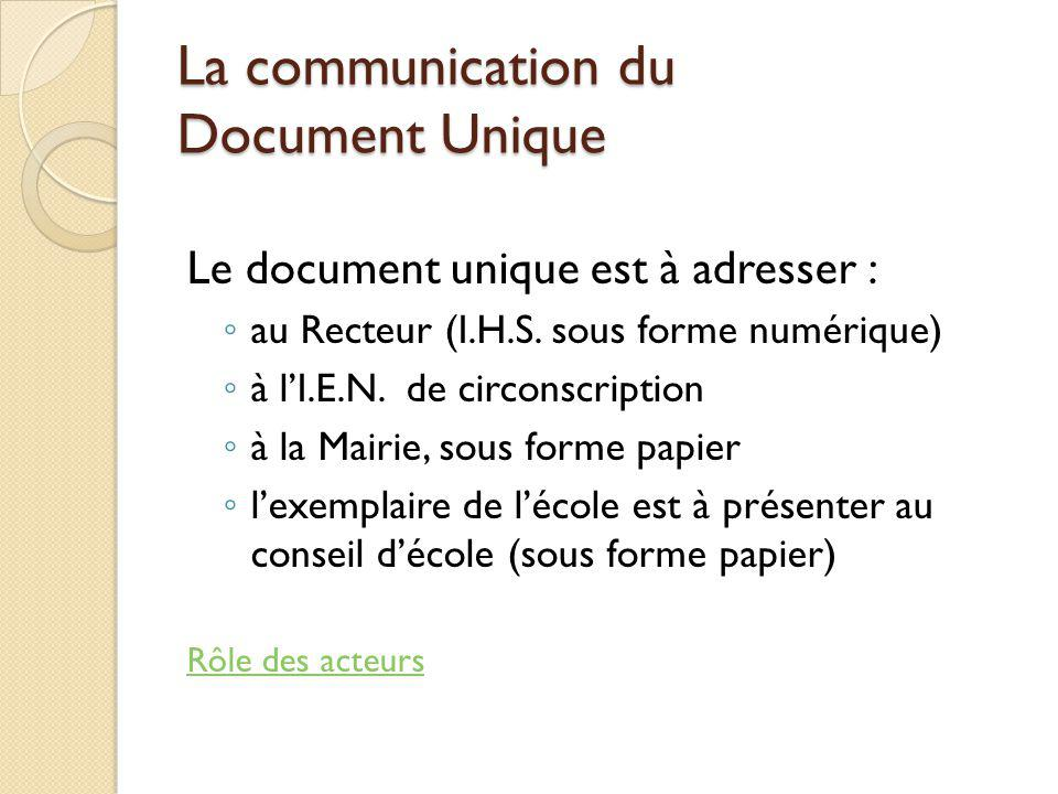 La communication du Document Unique